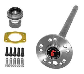 Currie Cut-to-Fit Axle with Dual Bolt Pattern, Axle Bearing, Retainer and 7/16 and 1/2 inch studs